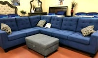 Brand New Navy Linen Sectional Sofa Couch  Silver Spring