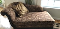 Brown and black floral fabric sofa 5 mi
