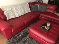 Red leather sectional w/ matching ottoman