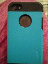 black iPhone 5 with blue and black Spigen case