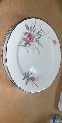 white and pink floral ceramic plate Toronto, M3L