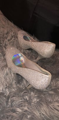 pair of gray glittered platform stilettos Front Royal, 22630
