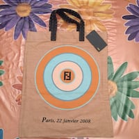 Shopping bag fendi beige. Tessuto di lino puro e manici in pelle! Perfetta come porta documenti casual!
