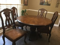 round brown wooden table with four chairs dining set Midway, 31320