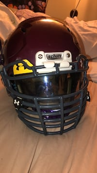 Vengeance DCT football xl adult helmet. Maroon with big grill face mask and under armor visor  Anchorage
