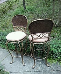 two black metal framed white padded chairs Pinson, 35126