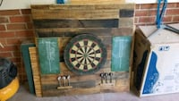 Dartboard with rustic wood surround.  Charlotte, 28277