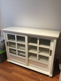 White, glass buffet cabinet Reston, 20191