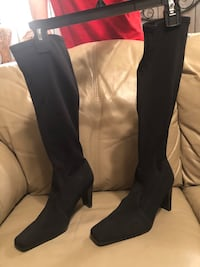 "New Elements by Nina black pull-on boots 18"" tall, 6 1/2M, 3"" heels Brentwood"