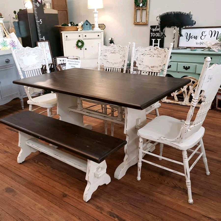 used farmhouse dining table bench 4 chairs for sale in monroe letgo rh tr letgo com