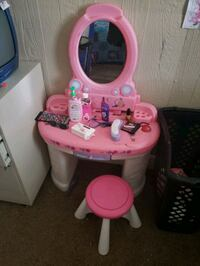 pink and white plastic vanity set Anderson, 46016