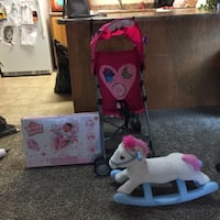 Baby's Bright Starts rock n play sleeper box, stroller, and rocking horse Sioux Falls, 57103