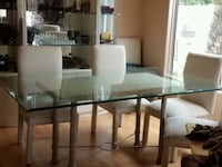 rectangular glass top table with four chairs dining set Mesa, 85207