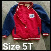 Boys Arizona light red and blue jacket size 5T Inman, 29349