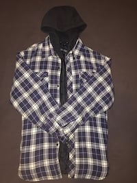 pair of blue-and-beige plaid zip-up hooded top