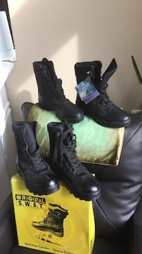 two pairs of black leather combat boots Mississauga, L5M 5W6