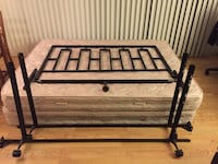 Queen bed with box spring, frame, and metal headboard Long Beach