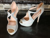 Silver with iridescent jewels peep toe platform pumps Deville, 71328