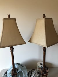 two brown wooden base table lamps with white lampshades Brossard, J4X 2T9