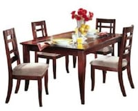 Rectangular brown wooden table with 6 chairs dining set Toronto, M2J