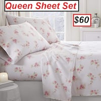 AJ - BRAND NEW - Home Collection Rose Pattern 4pc Flannel Queen Sheet Set Mississauga