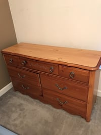 Full size head board and dresser. (Desk is NOT available) Ashburn