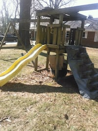 brown wooden slide and swing Woodbine, 21797