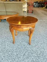 brown wooden round side table