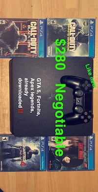 PS4 like new, plus 7 games one controller. NEGOTIABLE!!