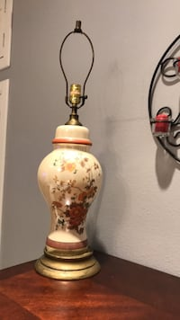 White and brown floral ceramic table lamp base Palmview, 78572