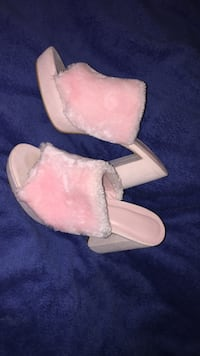 pair of pink leather fur-lined open-toe heeled sandals Prince George