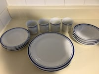 white and blue ceramic dinnerware set
