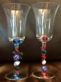 Red, White, & Blue Star Hand Beaded Drinking Glasses