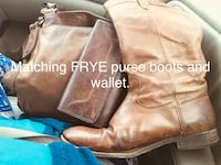 Matching leather FRYE purse, wallet and boots size 9.  All purchased brand new at Christmas. Virginia Beach, 23464