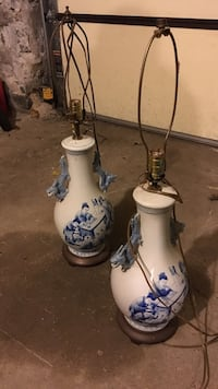 Antique Pair of porcelain Chinese oriental dragon lamps