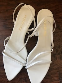 pair of white leather open-toe heeled sandals Ashburn, 20148
