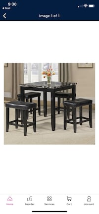 5 piece faux black and white marble counter height dining set  Falls Church, 22031
