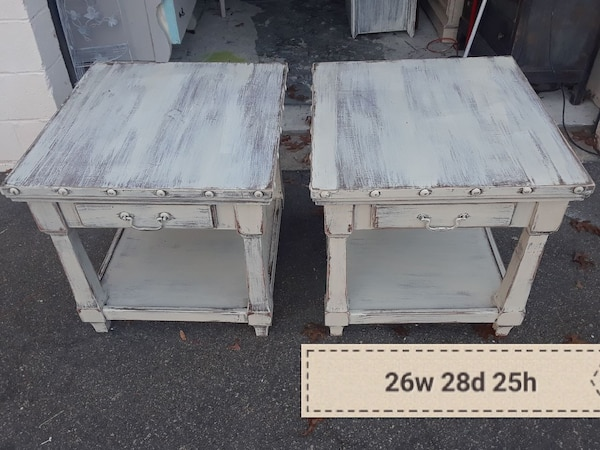two square white wooden side tables