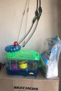 Hamster cage, accessories and bedding