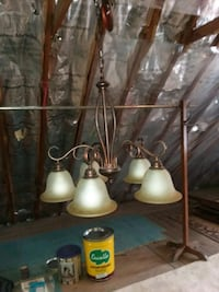 antique brass and white uplight chandelier Wind Lake, 53185