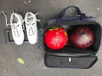 Travel rolling case bowling ball set 2 bowling balls, shoes, rolling case.  Monroe, 06468