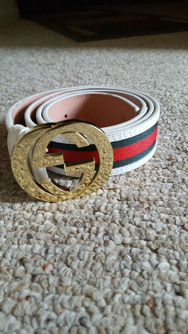 0baa19a5ed4 Used white red and green leather gucci belt with gold bucle for sale ...