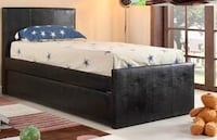 Leo Black Faux Leather Twin Bed with Trundle | 4527 1201 mi