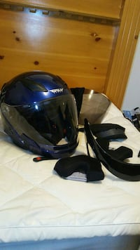 blue Fly full-face helmet with smoke lens