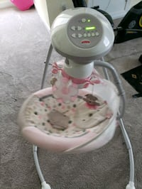 baby's white and gray cradle and swing Clayton