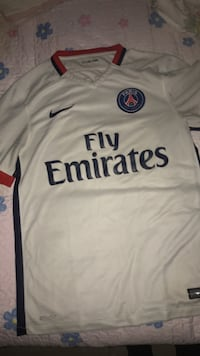 white and blue Adidas Fly Emirates jersey New York, 10011