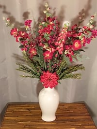 Floral Décor Huge 3' Floral Arrangement Gorgeous Silk Flowers in White Ginger Jar Vase  Lansdowne