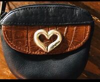 Brighton Leather Black and Brown Coin Purse with Silver Heart Like New