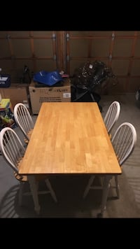 rectangular brown wooden table with six chairs dining set Newmarket, L3X 2X5