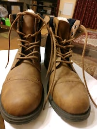 pair of brown leather combat boots Burtonsville, 20866